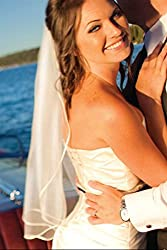 Bridal Veil Diamond (Off) White 1 Tier Shoulder Length 1/8in Satin Ribbon Edge