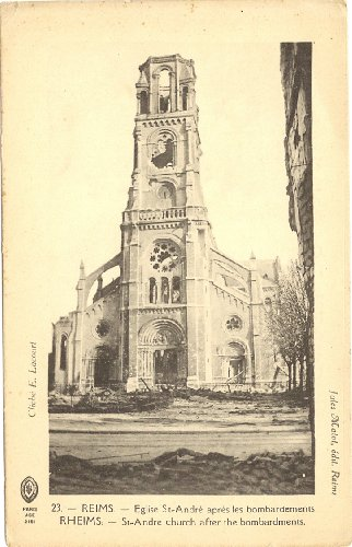1920s Vintage Postcard St. Andre Church after