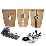 Calendrier de l'Avent - Washi bricolage pour la fabrication et le remplissage - avec des sacs bruns et des autocollants numéro - Conception d'autocollant Nr. 4...