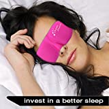 Sleep Mask Pink by Dream Maker® - Anti-Aging (Ultra Soft Silk) Sleeping Mask Contoured Eye Mask, Carry Pouch, Ear Plugs, Adjustable Velcro Strap, For Men, Women, Kids, Shift Work, Meditation & Travel