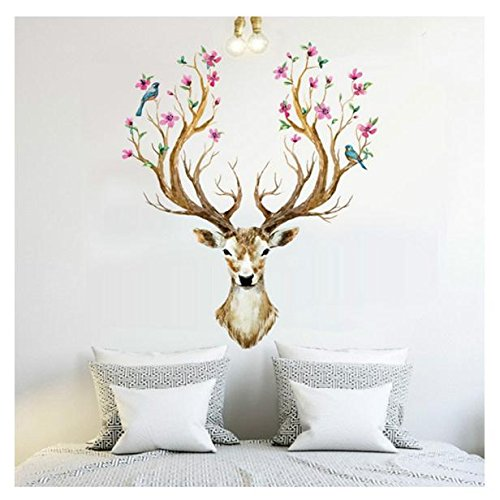 xinantime-diy-decoration-3d-plum-flower-deer-removable-wall-stickers