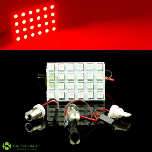 T10 Ba9S & 42Mm 31Mm 36Mm 39Mm 24-Smd 5050 Led Red Lights Dome Festoon Light Bulbs 12V 4W