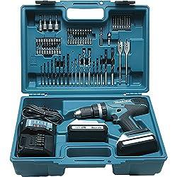 Makita HP457DWE10 - Trapano avvitatore a percussione, 2 x 18 V, 1,3 Ah, accessori