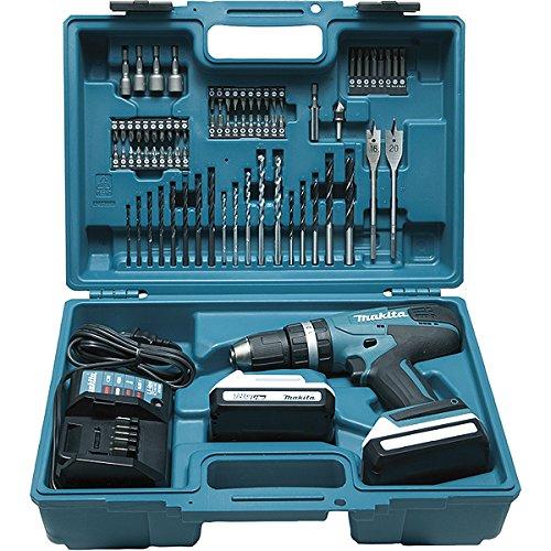 Makita HP457DWE10 Trapano avvitatore con percussionne 2x18 V 1,3Ah Li + 74 accessori + valigetta