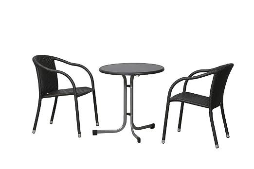 FloraSun® Gartenmöbel Set Cafe, 2 Stapelsessel, 1 Klapp-Boulevardtisch, Ø 100 cm, H 72 cm, Aluminium-/Stahlgestell