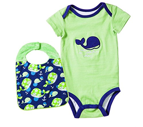 Blue Whale Embroidered Onesie With Matching Bib Set Size 0-6 Months