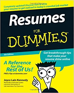resumes for dummies joyce lain kennedy books
