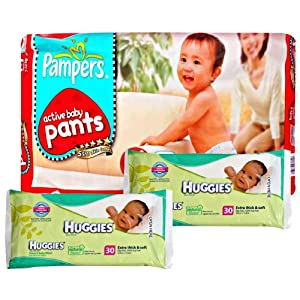 Pampers - Active Baby Pants M (7-10 kg), 42 Pant diapers with 2 Huggies - Baby Wipes 30 pcs combo (Set of 3)