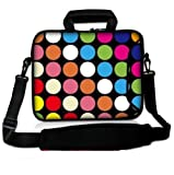 "Colorful Polka Dots 17"" Laptop Shoulder Bag Case Cover for 17 17.3"" Toshiba Satellite Dell Inspiron"