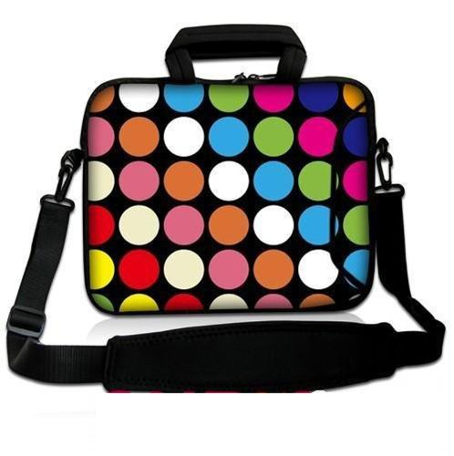 "Colorful Dots New Popular 17"" 17.3"" 17.4"" Neoprene Laptop Bag Sleeve With Extra Side Pocket, Removable Shoulder Strap & Soft Carrying Handle For 16""-17.4"" Hp Pavilion G7 Dv7 E17 /Hp Envy Touchsmart 17T /Dell Xps L702X L701X M1730 M1710 M2010 /Dell Studio"