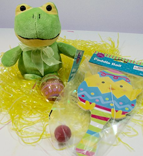 Cute Green Frog on Lily Pad Easter Basket Plush 8-Pc Bundle: Basket, Stuffed Animal Plush, Refillable Eggs, Paddle Ball!