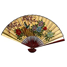Oriental Furniture Gold Leaf Birds & Peonies Fan - 12\