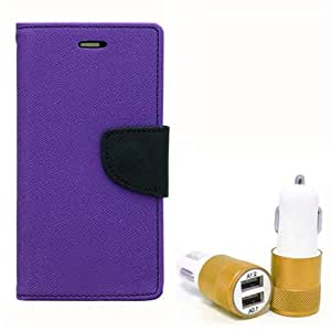 Aart Fancy Diary Card Wallet Flip Case Back Cover For HTC616 - (Purple) + Dual ports USB car Charger With Ultra Power Technolgy by Aart Store.