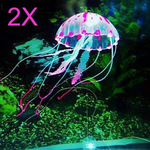 2X Glowing Artificial Silicone Vivid Jellyfish For Fish Aquarium Pink