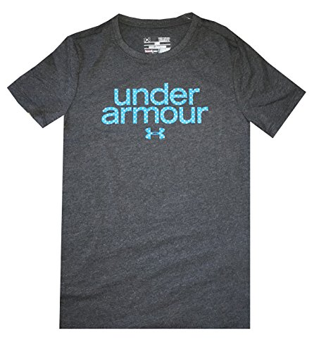 Under Armour Girls Youth Charged Cotton Dots Logo T-Shirt (Youth medium, Dark grey)