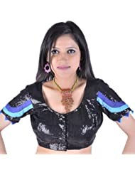 Exotic India Black Choli With Sequins And Patch Border - Black