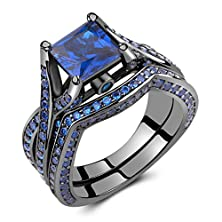 buy Caperci Black Sterling Silver 925 Princess-Cut Created Blue Sapphire Solitaire Wedding Engagement Ring Set Size 8