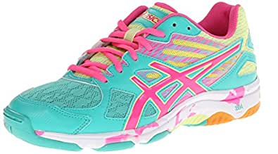 ASICS Women's Gel Flashpoint 2 Volley Ball Shoe,Atlantis/Knock Out Pink/Sunny Lime,5 M US