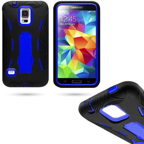 Mylife (Tm) Shocking Space Black And Bright Royal Blue - Shock Suit Survivor Series (Built In Kickstand + Easy Grip Silicone) 3 Piece + 2 Layer Case For New Galaxy S5 (5G) Smartphone By Samsung (External Flex Silicone Bumper Gel + Internal 2 Piece Rubberi