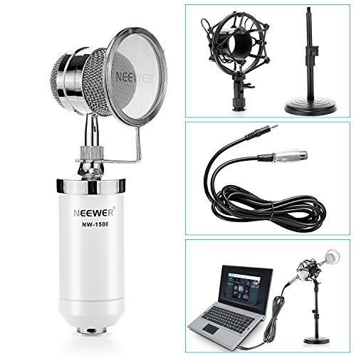 Neewer® White NW-1500 Desktop Broadcast & Recording Condenser Microphone with 3.5mm Male to XLR Female Cable, Adjustable Iron Desktop Mic Stand, Metal Shock Mount and Build-in Pop Filter (White Condenser Mic compare prices)