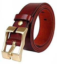 Blueblue Sky Genuine Leather Belts Men's Square Pin Buckle Belts#tr2000 (47 in, Red Brown)
