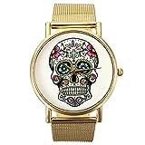 Montre Bracelet Or Maille Acier Inoxydable Quartz Femme Unisexe Wrist Watch Mode