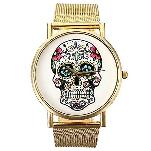 Montre Bracelet Or Maille Acier Inoxydable Quartz Femme Unisexe Wrist Watch Mode pas cher