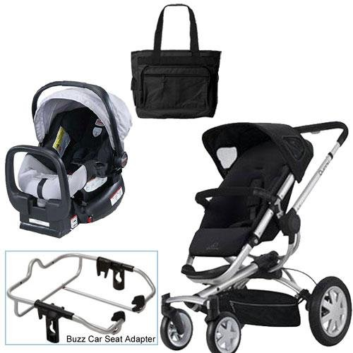 Quinny Rocking Black Buzz 4 Travel System with Britax Black Silver Car Seat Diaper Bag