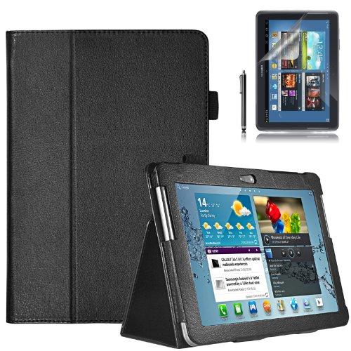 Swees® Samsung Galaxy Tab 2 10.1 P5100 P5110 Leder Tasche Case Etui Sleeve Cover hülle Schutzhülle + Stylus (Eingabestift) & Displayschutzfolie - Schwarz