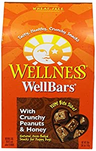 Wellness WellBars Natural Wheat Free Oven Baked Dog Treats, Crunchy Peanuts and Honey Biscuits, 50-Ounce Box