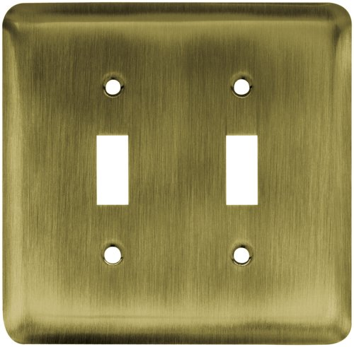 Franklin Brass 64089 Stamped Steel Round Double Toggle Switch Wall Plate / Switch Plate / Cover, Antique Brass