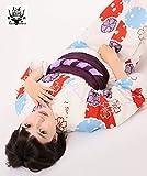 高級変わり織り 浴衣3点セット ミルキーホワイトに昭和色の花雪輪