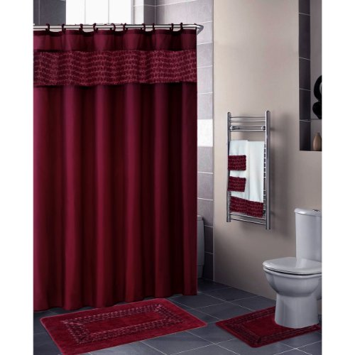 Burgundy FLORAL RIBBON 18-Piece Bathroom Set: 2-Rugs/Mats, 1-Fabric Shower Curtain, 12-Fabric Covered Rings, 3-Pc. Decorative Towel Set