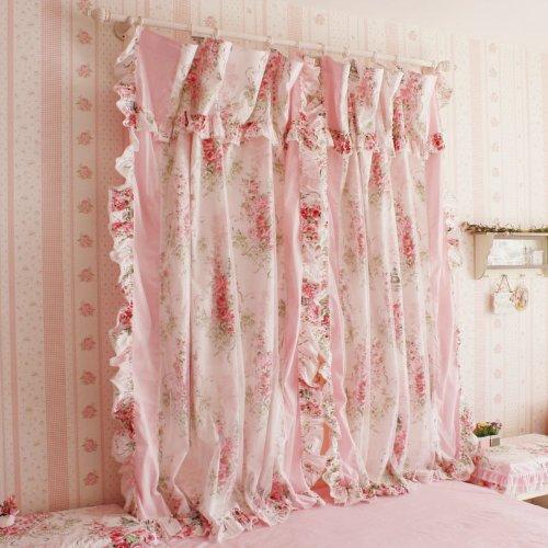 Korean Style Rustic Vintage Pink Rose Curtain Bedroom