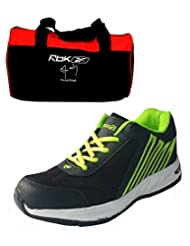 Spot On Men's Black Green Sports Shoes & Reebok Gym Bag Combo