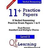11+ Practice Papers - 5 Verbal Reasoning Practice Exam Papers - Level 2 (Papers 1-5) (11+ Practice Papers)by QE Learning