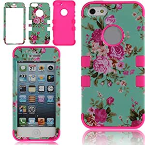 iPhone SE Case,iPhone 5S Case,Hybrid Case for iPhone SE/5S/5,ikasus Soft Silicone and Hard Plastic Elegant Rose Flowers 3In1 Hybrid High Impact Bumper Hard Back Case Cover For Apple iPhone SE 2016 & iPhone 5S 5 (Style 1:Hot Pink)