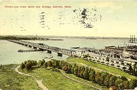 1910 Vintage Postcard - Belle Isle Bridge - Detroit Michigan