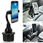 ChargerCity Bendable Versatile Apple iPhone 6 5 5S 5C Plus Gold Space Gray Google Nexus 4 5 6 Samsung Galaxy S5 S4 S3 Note 3 2 Mega HTC ONE Max Motorola Moto X G Droid LG G G2 G3 Pro 32GB 64GB Car Vehicle Cup Holder Mount (Smartphone Holder can extend up to 3.6)