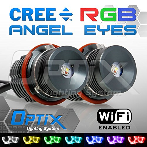 Optix 20W Total RGB Color Change WIFI Control LED Angel Eyes Halo Ring Marker Headlight Bulbs for BMW E65 E66 E83 E53 E39 E60 E61 E63 E64 5 6 7 Series X3 X5 - Factory HID Replacement (E39 Headlight Bulb compare prices)