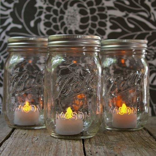 Mason Jar Lights Pint Size With Battery Led Tea Lights, Set Of 3
