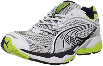 PUMA Men's Complete Ventis II Running Shoe, White/Silver Metallic/Lime Punch, 14 D US