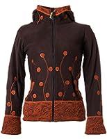 Vishes - Alternative Bekleidung - warme Damen Fleece Jacke mit Stehkragen und Zipfelkapuze