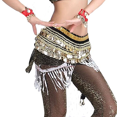 Black Belly Dance Scarf With Gold Coins Belt Velvet Skirt