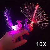 Hrph 10pcs Peacock Finger Night Lights Color Led Lamp Kids Optical Fiber Finger Light Educational Plastic Finger Toy
