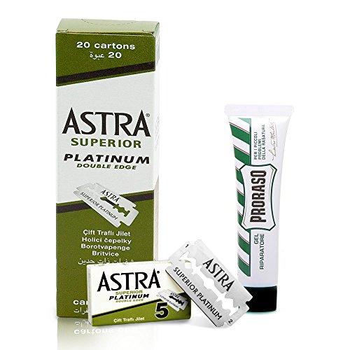 100 Lamette da barba Astra Platinum + Proraso gel riparatore 10ml