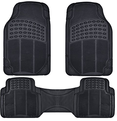 BDK Front and Back ProLiner Heavy Duty Rubber Floor Mats for Auto, 3 Piece Set by BDK