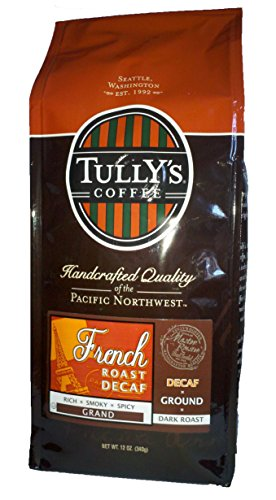 Tully's Coffee Decaffeinated French Roast, Ground, 12-Ounce Bags (Pack of 2) (Seattle Mountain French Roast compare prices)