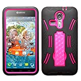 MyBat Symbiosis Stand Protector Cover with Diamonds for Kyocera C6730 Hydro Icon - Retail Packaging - Pink/Black