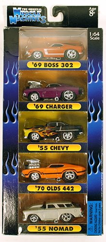 Muscle Machines 1:64 Scale Car Set '69 Boss 302, '69 Charger, '55 Chevy, '70 Olds 442, '55 Nomad